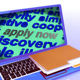 Apply Now Word Cloud Laptop Shows Work Job Applications Royalty Free Stock Photos