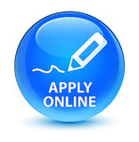 Apply online (edit pen icon) glassy cyan blue round button Stock Images