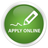 Apply online edit pen icon premium soft green round button Stock Photos