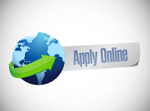 Apply online globe world map illustration design Stock Images