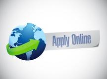 Apply online globe world map illustration design Stock Images