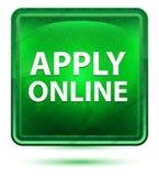 Apply Online Neon Light Green Square Button stock illustration