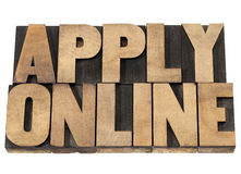 Apply online in wood type Stock Image