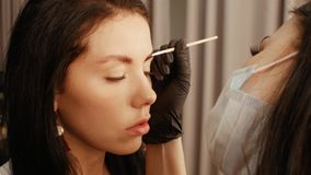 Apply paint on the eyebrows. Woman cosmetologist apply paint with brush on the eyebrows of a beautiful patient. Part of eyebrow correction procedure close-up stock footage