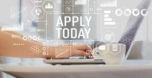 Apply today with woman using a laptop