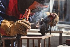 Free Applying A Facing Weld Using Manual Arc Welding Stock Photography - 177627042