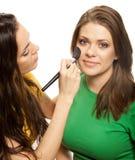 applying blusher woman Στοκ εικόνες με δικαίωμα ελεύθερης χρήσης