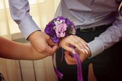 Applying boutonniere Stock Photo