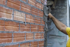 Applying Cement Stock Photos