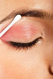 Applying Eye Makeup Eye Closed Stock Images