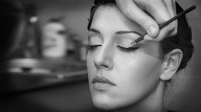 Applying eyelash monochome Royalty Free Stock Images