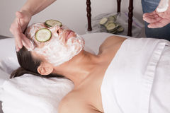 Applying face cream Royalty Free Stock Photo