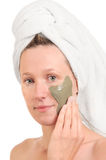 Applying Face Pack Royalty Free Stock Photo