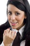applying fashionable lipstick woman Στοκ φωτογραφία με δικαίωμα ελεύθερης χρήσης