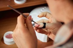Applying gel nail Polish, the woman doing the manicure.  royalty free stock photo