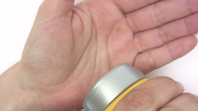 Applying Hand Cream stock video footage
