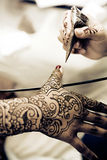 Applying Henna Royalty Free Stock Photo