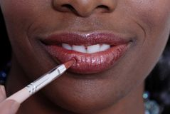 Applying Lip-gloss Stock Image