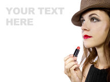 Applying Lipstick Stock Image