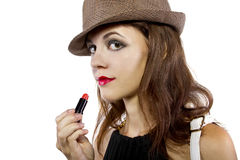 Applying Lipstick Stock Images