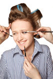 Applying make-up Royalty Free Stock Image
