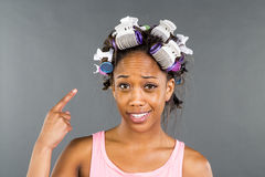 Applying Makeup di modello nero Fotografia Stock