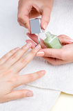 Applying manicure, moisturizing the nails Royalty Free Stock Photography