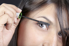 Applying mascara. Closeup shot of female model applying mascara Stock Photo