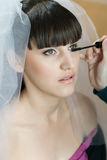 Applying mascara on bride Stock Images