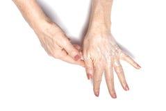 Applying moisturizer Royalty Free Stock Image