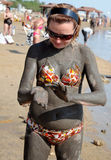 Applying Mud from the Dead Sea Stock Image