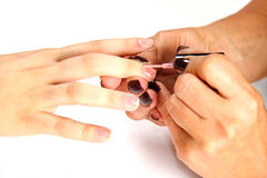 Applying nail polish on female fingers Stock Photography