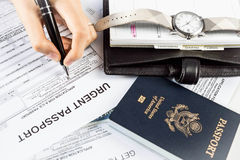 Applying of New Passport Stock Photography