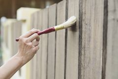 Applying protective varnish on wooden fence. Diy and repair house concept royalty free stock photos