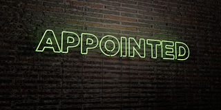 APPOINTED -Realistic Neon Sign on Brick Wall background - 3D rendered royalty free stock image Stock Photo