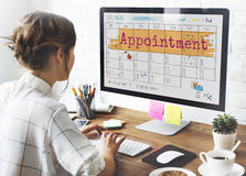 Appointement agendy kalendarza spotkania przypomnienia pojęcie Obraz Stock