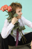 Appointment. Woman portrait with flowers Royalty Free Stock Image