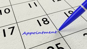 Appointment calendar pen and paper Stock Image