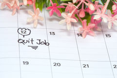 Appointment for quit job, concept image. Of a calendar royalty free stock image