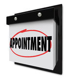 Appointment Reminder on Calendar Schedule. The word Appointment circled on a wall calendar to remind you of an important event, meeting or scheduled interview or Royalty Free Stock Images