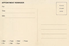 Appointment Reminder postcard. As background royalty free stock photo