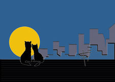 Appointment under the moon. Vector figure, cats sit on a roof of the house, a big moon, a kind on city Royalty Free Stock Image