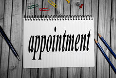 Appointment word Royalty Free Stock Image