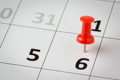 Appointments marked on calendar Royalty Free Stock Image