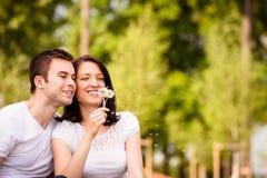 Appréciant la vie - pissenlits de soufflement de couples Photo stock