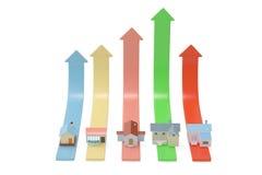 Appréciation de la maison, maison sur la hausse de flèche illustratio 3D Image stock