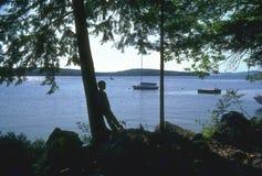 Apprécier le lac Image libre de droits