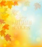Appréciez Autumn Sales Banner avec les feuilles colorées illustration stock