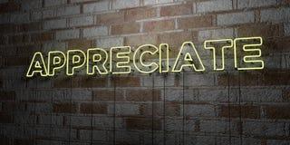 APPRÉCIEZ - Enseigne au néon rougeoyant sur le mur de maçonnerie - 3D a rendu l'illustration courante gratuite de redevance illustration de vecteur