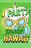 Appréciez la bannière d'Hawaï de partie, rétro illustration lumineuse verte de vecteur d'affiche de style d'art de bruit illustration de vecteur